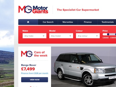 Motor Giants cars vehicles motors navigation search filter call to action button