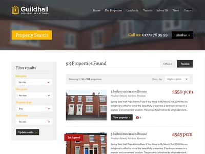 Property List property listings lettings letting agent responsive redesign filter results