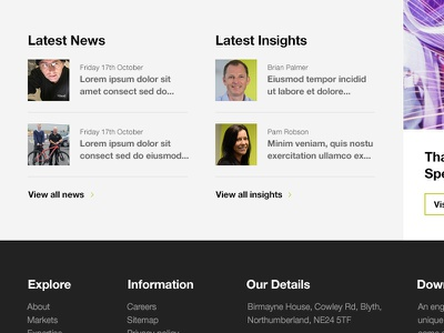 Latest News & Insights homepage redesign responsive full screen news latest news footer