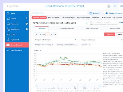 Customer Portal layout flat clean user management settings sales report stock market sri lanka share price dashboard customer portal account