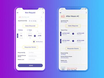 Facility Management App - New Request, Detail Screens iphonex ios app android app facility management simple mobile form sri lanka new request ux ui app