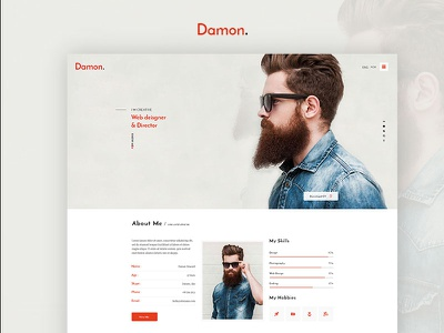 Damon - Resume WordPress Theme & HTML Template vcard resume wordpress theme htmlmate resume personal portfolio wp theme personal cv