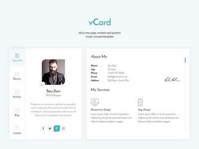 Personal vCard Template uxui web design personal vcard resume