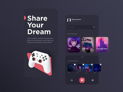 Streaming  App video games app mobile twitch streaming dark mode dark ui ui