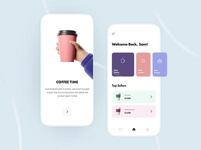 COFFEE TIME minimal inspiration app design coffee shop cafe ui design uiux mobile app coffee