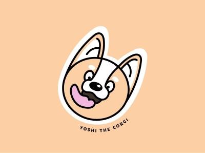 Yoshi the Corgi corgis cute stickers vector doggo dog illustration dog logo sticker dog yoshi corgi illustration