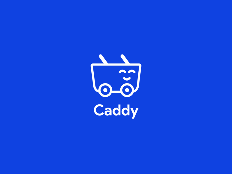 Caddy basket ecommerce autonomous delivery home delivery caddy food market cart robot groceries illustrator logo branding illustration