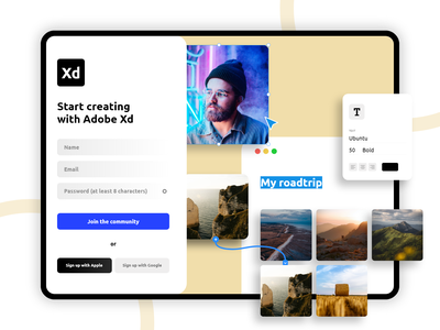 Adobe Xd Sign up form concept website simple design minimal web ui ux popular new clean