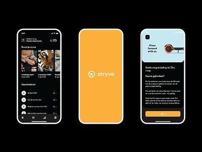 Stryve - a life changing app product design dark minimal app clean interface product design concept popular mockup branding ux ui