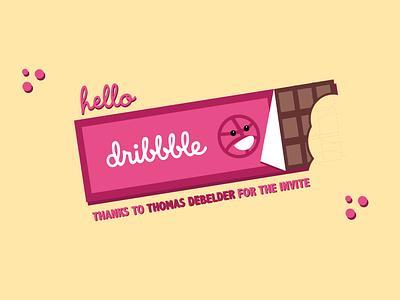 Hello Dribbble! chocolatebar first illustration invite vector debutshot firstshot