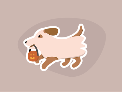 Who's a spooky boy? art design boi spooky jack o lantern pumpkin ghost dog illustration sticker mule sticker halloween dog vector adobe illustrator illustration