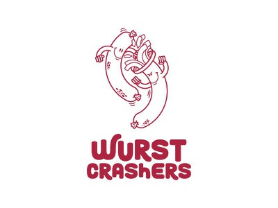 Wurst Crashers sausage wurst design character vector logo