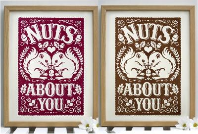 Nuts About You Print acorn squirrels hearts autumn fall twins screenprint illustration typography hand lettering vintage typography oak leaves wedding gift anniversary gift gift for twins hand printed snowdon design  craft