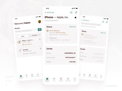 The UPS App Redesign Concept — by @madebyfabian ux visual design loading card ui branding brown space white concept redesign ups ios app modern