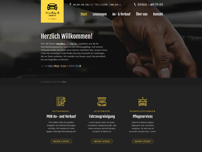 Car Caring & Cleaning Services — Redesign grey gray yellow dark design modern landing page dark design web page website car