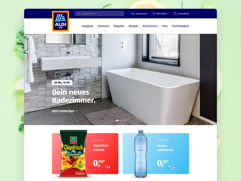 ALDI Website Redesign Concept product presentation products 2 landing page design 2 col blue website brand redesign. modern concept market food grocery landingpage redesign concept redesign aldi