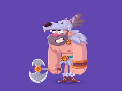 Barbarian wolf design cartoon rpg barbarian character 2d