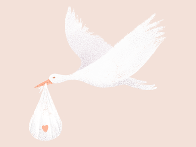 The stork that delivers babies pastel colours soft colours baby stork fertility procreate digital illustration illustration