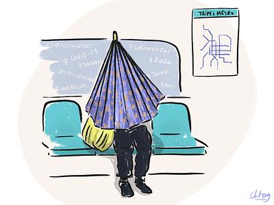 Go out covered! subway purple procreate digital illustration illustration umbrella coronavirus covid-19 taipei
