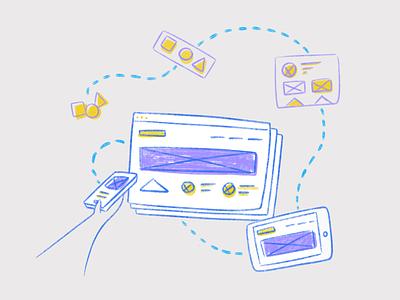 UI Illustration responsive yellow blue purple procreate website atomic design illustration ui
