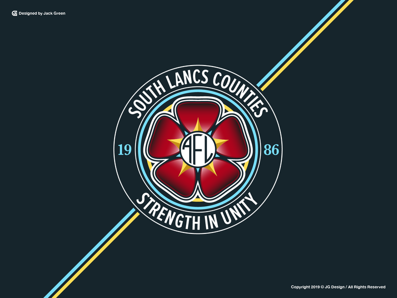 South Lancashire Counties AFL modernism thick lines illustration typography bold color branding concept brand identity team crest logo leagues athlete sports sports team soccer logo logo branding soccer badge football soccer