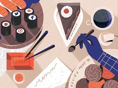 Restaurant Website Design interface web vector art article web design ux ui news flat blog illustration fireart studio fireart