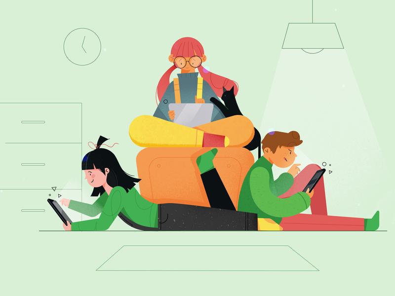 Webdesign for kids flat character web ui ux web design article news blog illustration fireart studio fireart