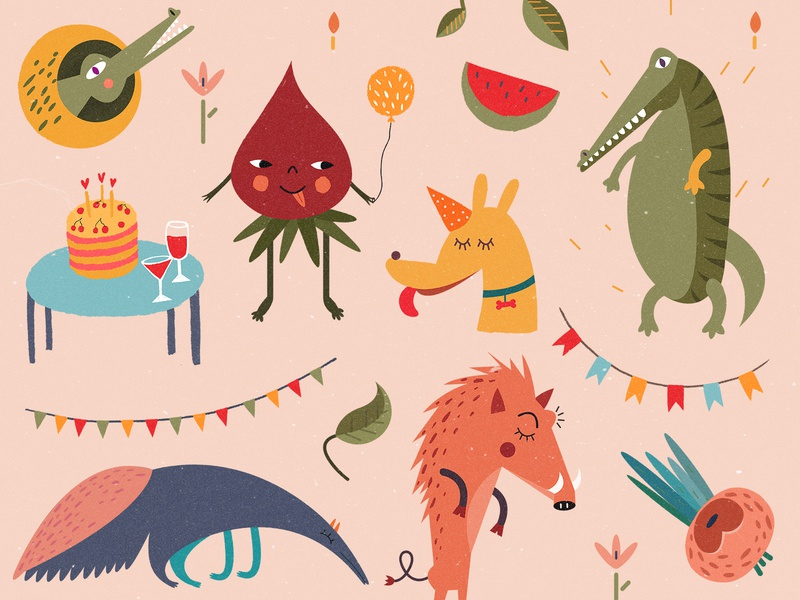 Mimi Party — Pattern colors children book illustration children book children emotions funny pink mimi party fruits crocodile happy invite haby invitation animals brand pattern characters illustration