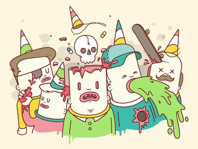 Party Face illustration digital vector party drugs intense