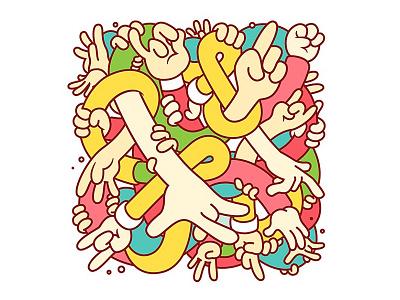 Hand Study illustration digital vector party drugs intense colour hands maze