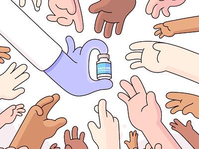 Vaccine Shortage diverse covid virus crowd medicine doctor hands vaccine