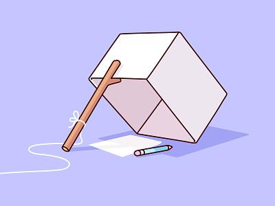 How to catch an artist. illustrator light purple stick string paper pastel pencil box trap