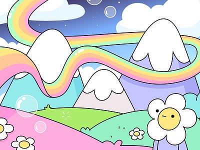 doodleville vector bubbles colourful flowers mountains rainbow flower delight happy landscape illustration