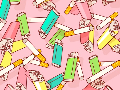 Smoking Habbits lighter smoking cigarette geometry pattern drawing illustration