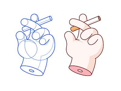 Smoke Break hand smoking cigarette geometry pattern drawing illustration
