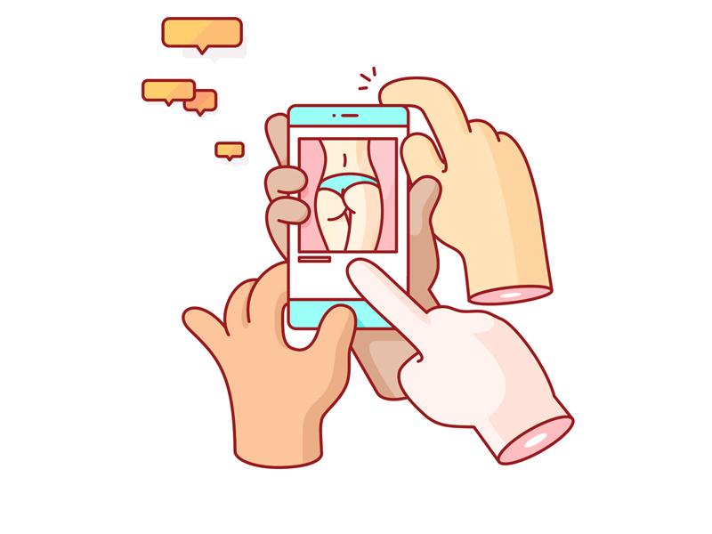 Social Interaction instagram vector illustration humor social