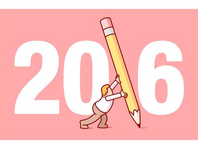 2016 conceptual humor editorial vector design newyear montage edit grid perspective illustration