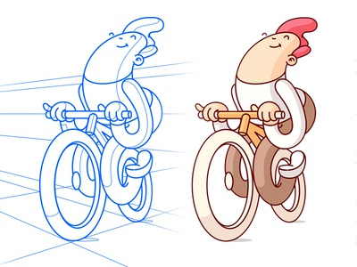 Happy Cyclist  character perspective geometry drawing illustration twist wip