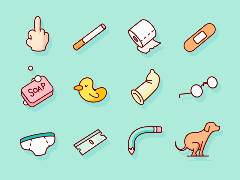 Daily Routine Icons icons geometry shapes humor gore drawing draw sketchbook sketch illustration
