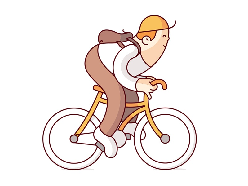 Cyclist geometry shapes bicycle illustration