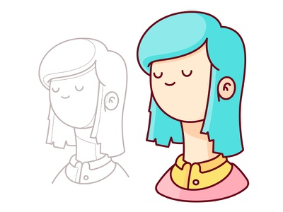 Character Design bust colour character geometry shapes illustration