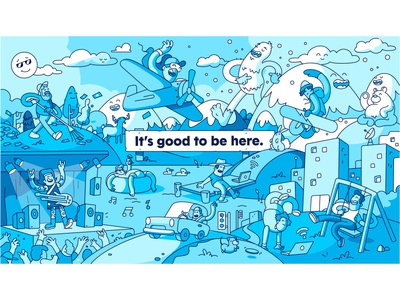 It's good to be here. landscape scene environment mural illustration