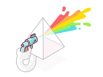 Lights Out suicide gun rainbow burst colour character geometry shapes illustration