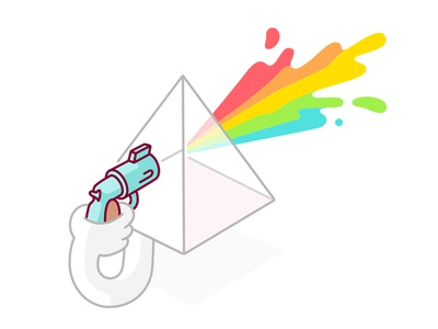Lights Out suicide gun rainbow burst colour character geometry shapes illustration