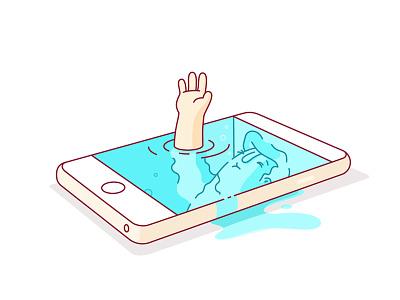 iDrown 7 isometric editorial drown social iphone illustration