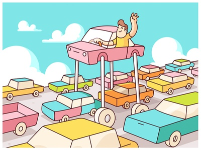 Waze - Avoid Traffic. city urban car illustration traffic social pop culture editorial