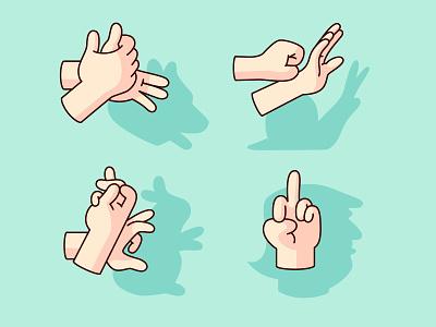 Shadow Puppets dog snail rabbit trump political politcs shadow gesture hands illustration