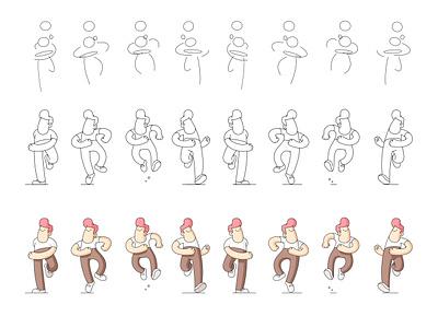 Run Cycle [Breakdown] animation traditional character design draw walk run positive happy illustration