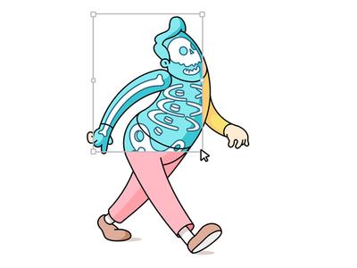 x-ray cursor skull skeleton character design draw walk run xray illustration