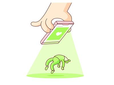 Abduction ufo alien phone iphone humor character digital geometry draw illustration